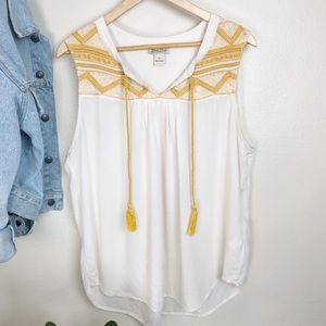 Lucky Brand Embroidered Tassel Tank